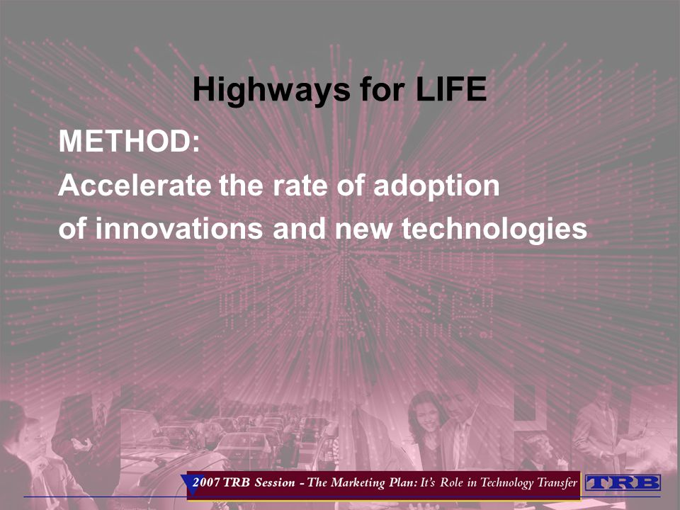 Highways for LIFE METHOD: Accelerate the rate of adoption of innovations and new technologies