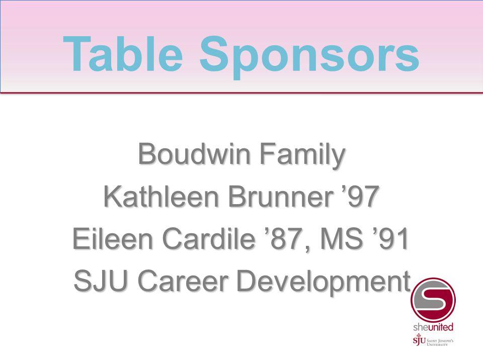Boudwin Family Kathleen Brunner '97 Eileen Cardile '87, MS '91 SJU Career Development Table Sponsors