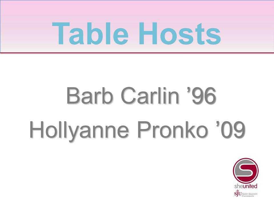 Barb Carlin '96 Barb Carlin '96 Hollyanne Pronko '09 Table Hosts