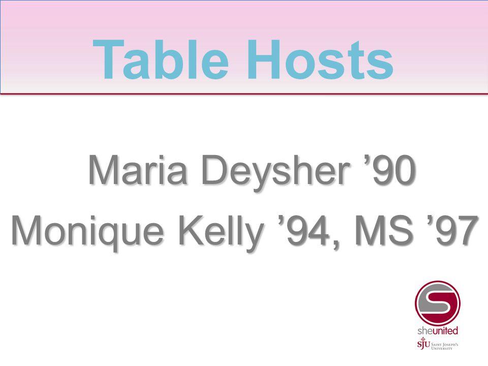 Maria Deysher '90 Maria Deysher '90 Monique Kelly '94, MS '97 Table Hosts