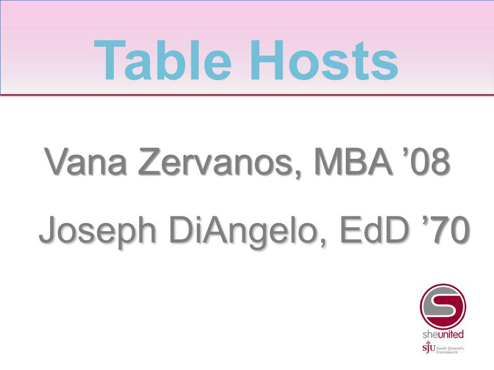 Vana Zervanos, MBA '08 Joseph DiAngelo, EdD '70 Joseph DiAngelo, EdD '70 Table Hosts