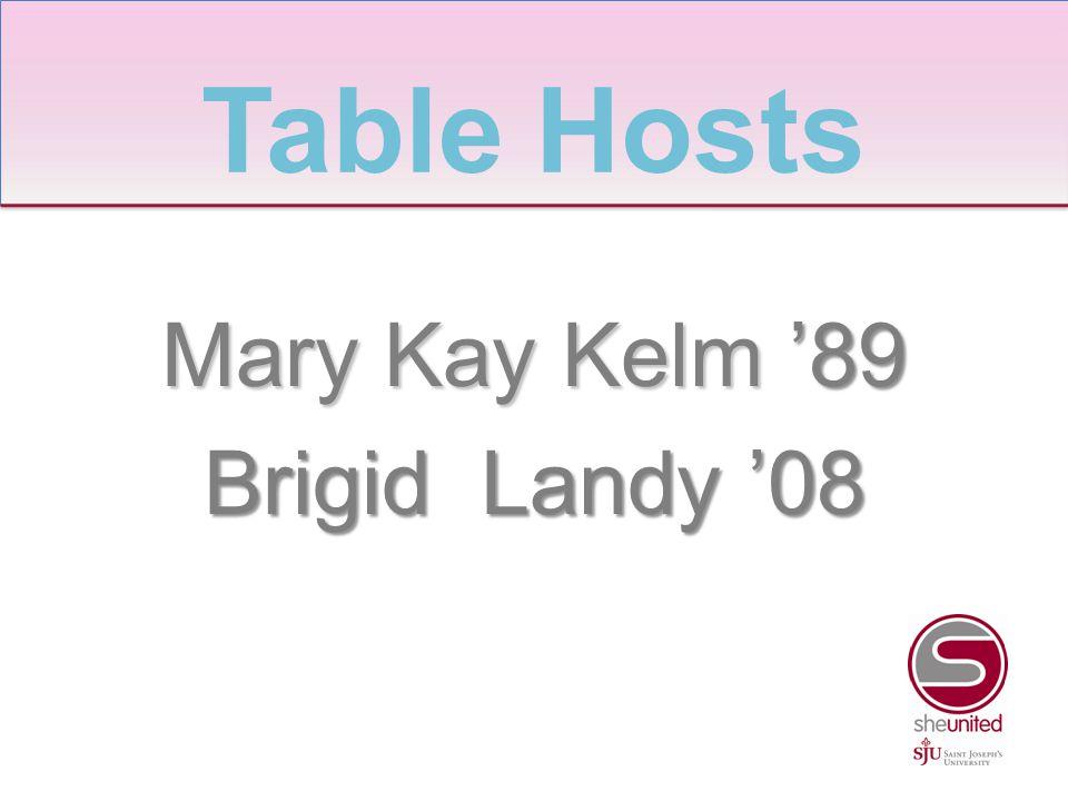 Mary Kay Kelm '89 Brigid Landy '08 Table Hosts