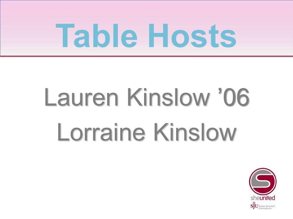 Lauren Kinslow '06 Lorraine Kinslow Table Hosts