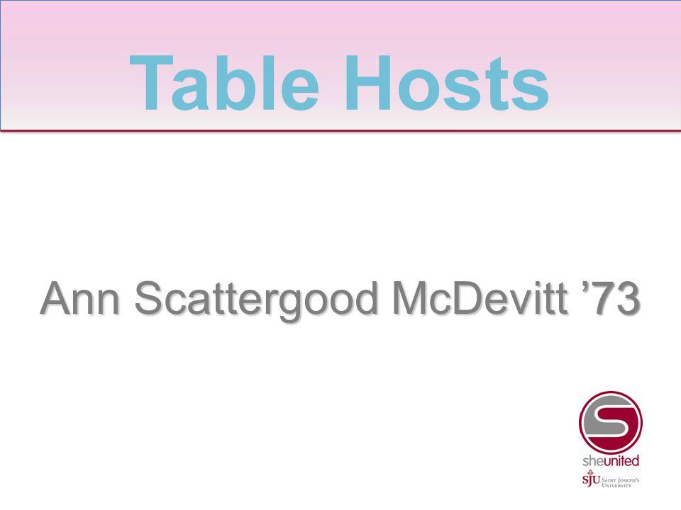 Ann Scattergood McDevitt '73 Table Hosts