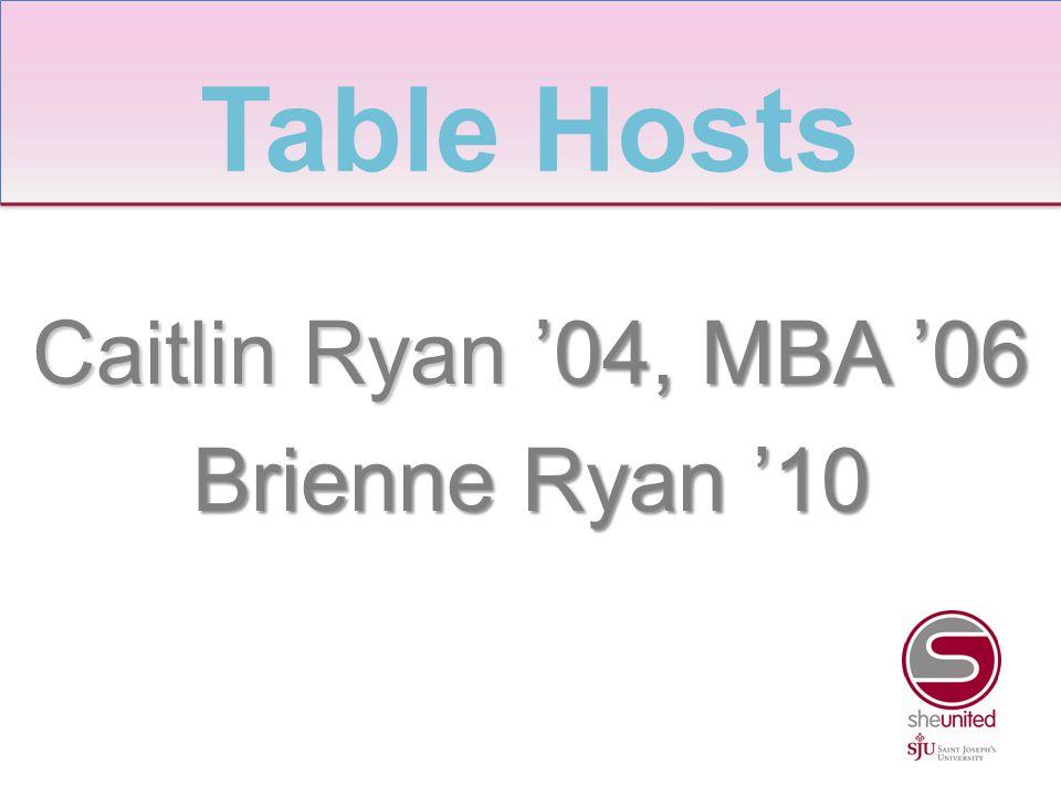 Caitlin Ryan '04, MBA '06 Brienne Ryan '10 Table Hosts