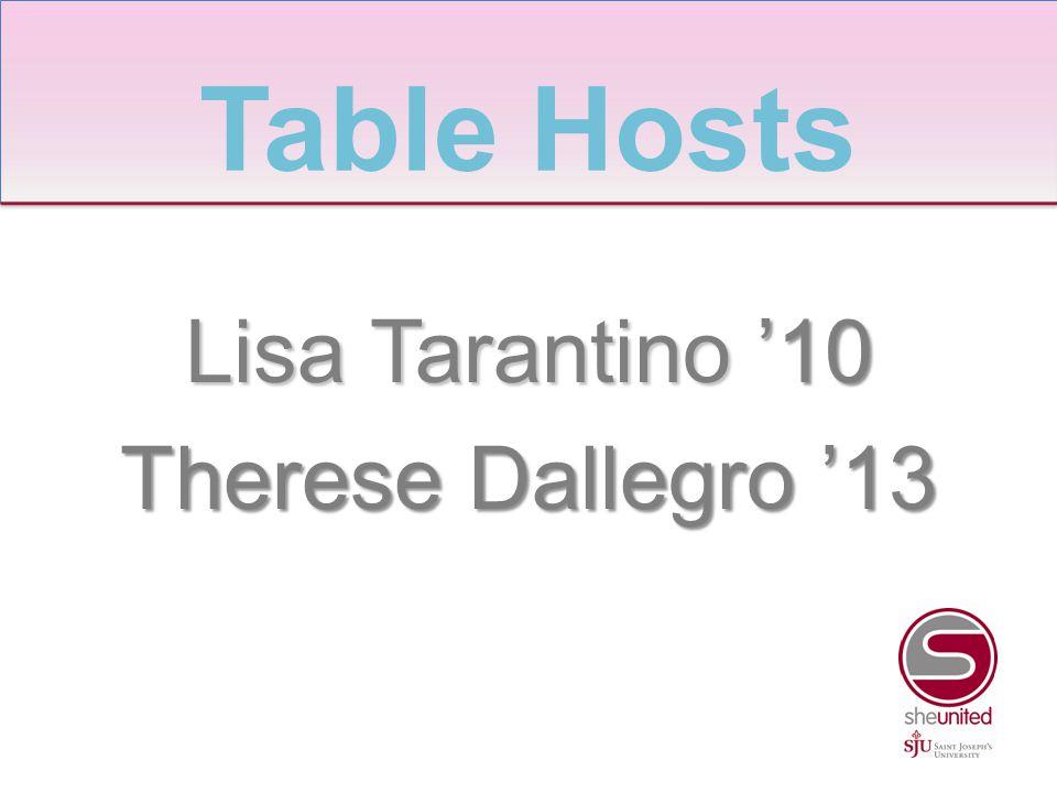 Lisa Tarantino '10 Therese Dallegro '13 Table Hosts