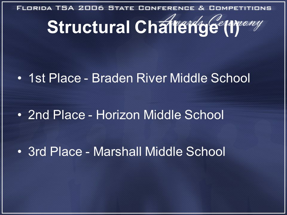 Structural Challenge (I) 1st Place - Braden River Middle School 2nd Place - Horizon Middle School 3rd Place - Marshall Middle School