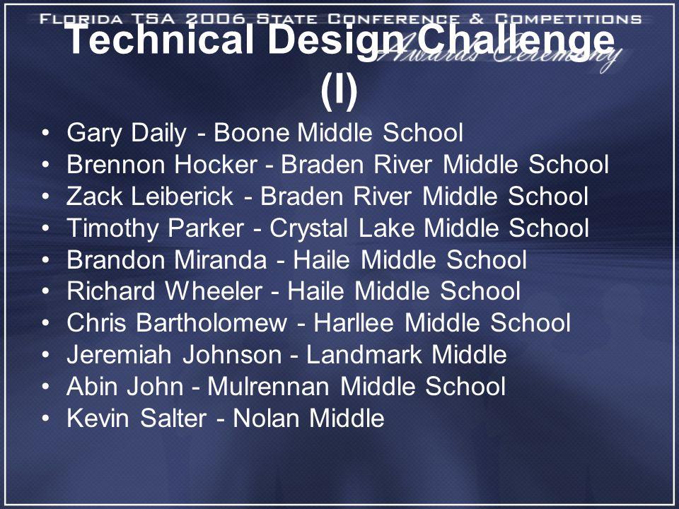 Technical Design Challenge (I) Gary Daily - Boone Middle School Brennon Hocker - Braden River Middle School Zack Leiberick - Braden River Middle Schoo