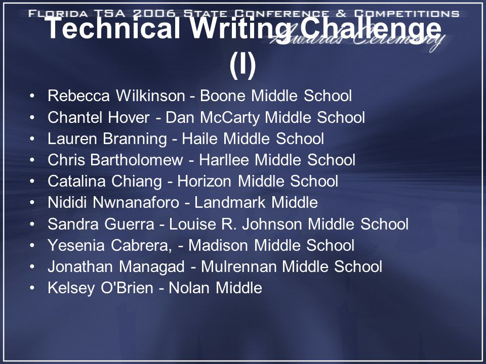 Technical Writing Challenge (I) Rebecca Wilkinson - Boone Middle School Chantel Hover - Dan McCarty Middle School Lauren Branning - Haile Middle School Chris Bartholomew - Harllee Middle School Catalina Chiang - Horizon Middle School Nididi Nwnanaforo - Landmark Middle Sandra Guerra - Louise R.