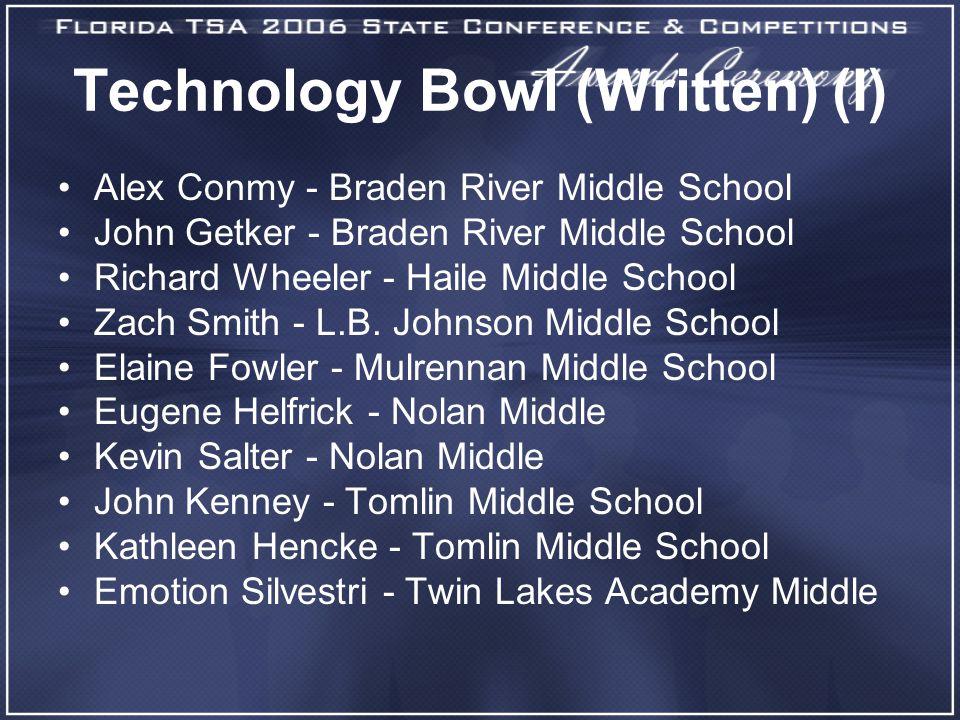 Technology Bowl (Written) (I) Alex Conmy - Braden River Middle School John Getker - Braden River Middle School Richard Wheeler - Haile Middle School Zach Smith - L.B.