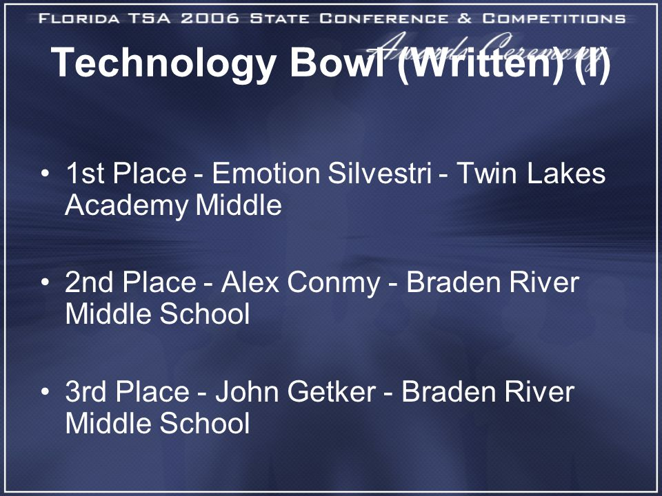 Technology Bowl (Written) (I) 1st Place - Emotion Silvestri - Twin Lakes Academy Middle 2nd Place - Alex Conmy - Braden River Middle School 3rd Place - John Getker - Braden River Middle School