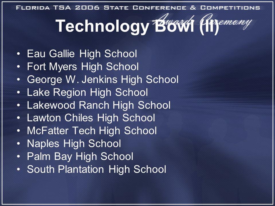 Technology Bowl (II) Eau Gallie High School Fort Myers High School George W. Jenkins High School Lake Region High School Lakewood Ranch High School La