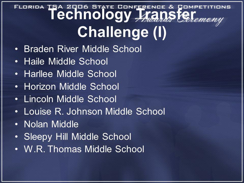 Technology Transfer Challenge (I) Braden River Middle School Haile Middle School Harllee Middle School Horizon Middle School Lincoln Middle School Louise R.