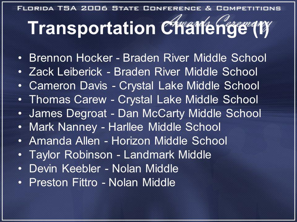 Transportation Challenge (I) Brennon Hocker - Braden River Middle School Zack Leiberick - Braden River Middle School Cameron Davis - Crystal Lake Midd