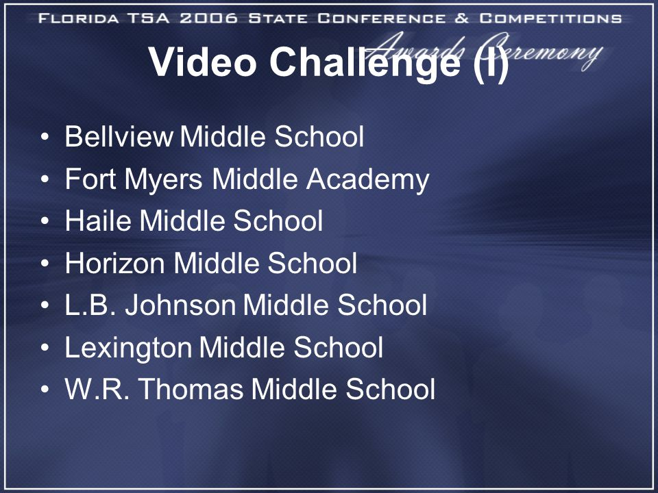 Video Challenge (I) Bellview Middle School Fort Myers Middle Academy Haile Middle School Horizon Middle School L.B.