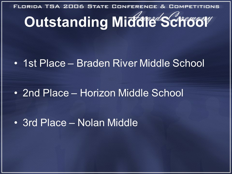 Outstanding Middle School 1st Place – Braden River Middle School 2nd Place – Horizon Middle School 3rd Place – Nolan Middle