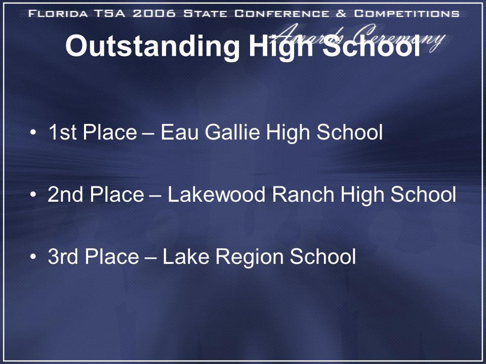 Outstanding High School 1st Place – Eau Gallie High School 2nd Place – Lakewood Ranch High School 3rd Place – Lake Region School