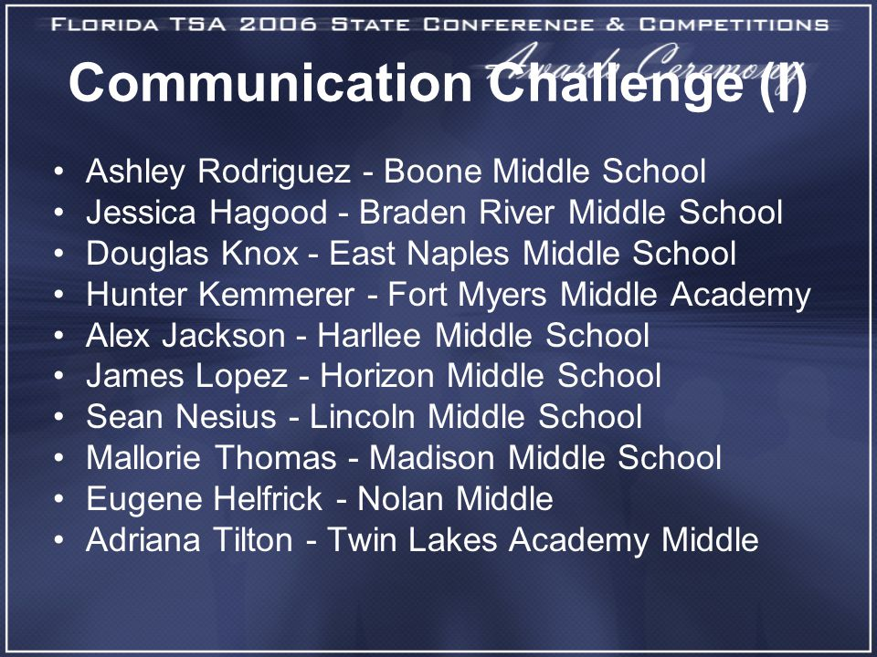 Communication Challenge (I) Ashley Rodriguez - Boone Middle School Jessica Hagood - Braden River Middle School Douglas Knox - East Naples Middle School Hunter Kemmerer - Fort Myers Middle Academy Alex Jackson - Harllee Middle School James Lopez - Horizon Middle School Sean Nesius - Lincoln Middle School Mallorie Thomas - Madison Middle School Eugene Helfrick - Nolan Middle Adriana Tilton - Twin Lakes Academy Middle