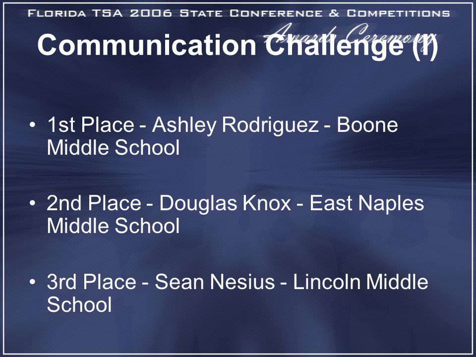 Communication Challenge (I) 1st Place - Ashley Rodriguez - Boone Middle School 2nd Place - Douglas Knox - East Naples Middle School 3rd Place - Sean Nesius - Lincoln Middle School