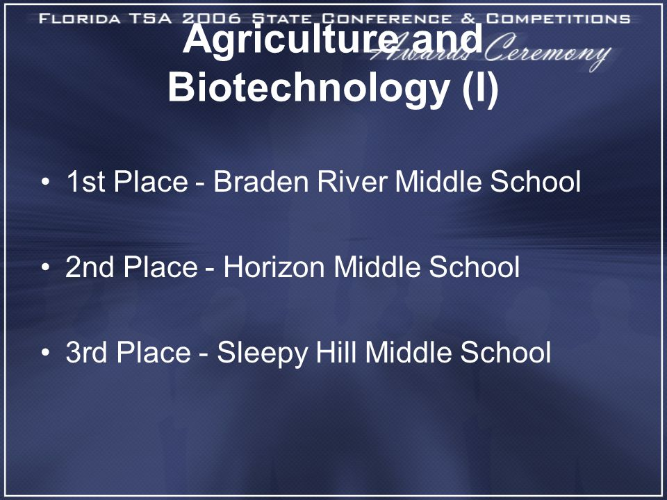 Agriculture and Biotechnology (I) 1st Place - Braden River Middle School 2nd Place - Horizon Middle School 3rd Place - Sleepy Hill Middle School