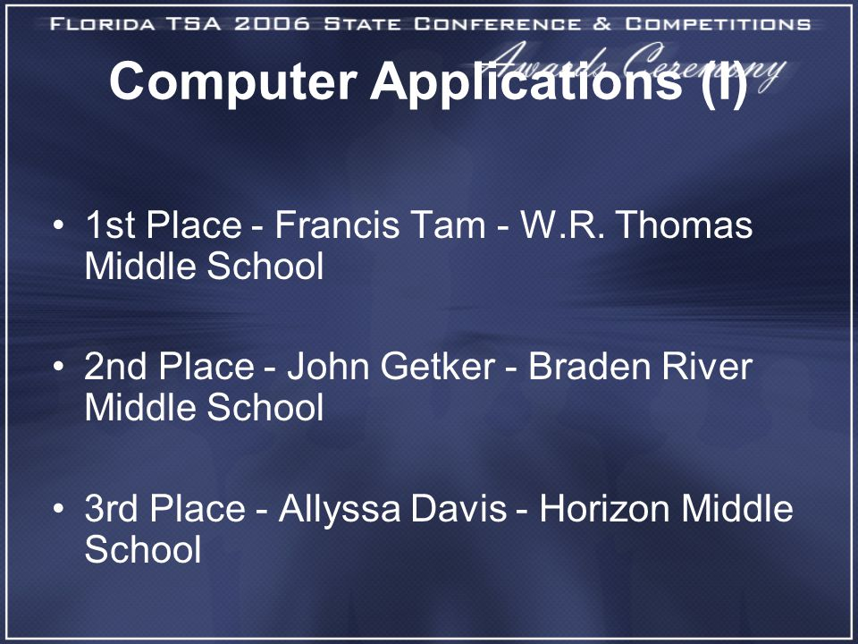Computer Applications (I) 1st Place - Francis Tam - W.R.