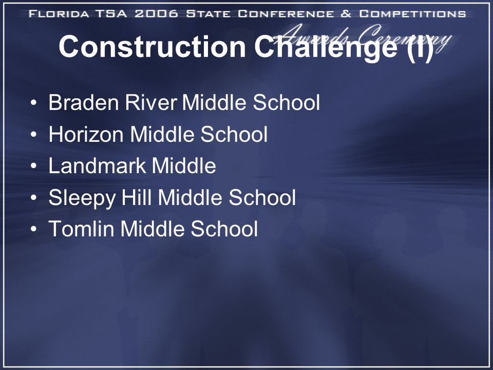 Construction Challenge (I) Braden River Middle School Horizon Middle School Landmark Middle Sleepy Hill Middle School Tomlin Middle School