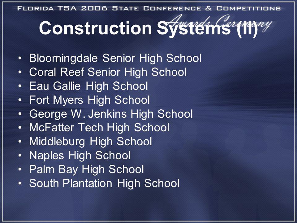 Construction Systems (II) Bloomingdale Senior High School Coral Reef Senior High School Eau Gallie High School Fort Myers High School George W. Jenkin