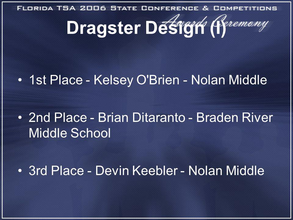 Dragster Design (I) 1st Place - Kelsey O'Brien - Nolan Middle 2nd Place - Brian Ditaranto - Braden River Middle School 3rd Place - Devin Keebler - Nol