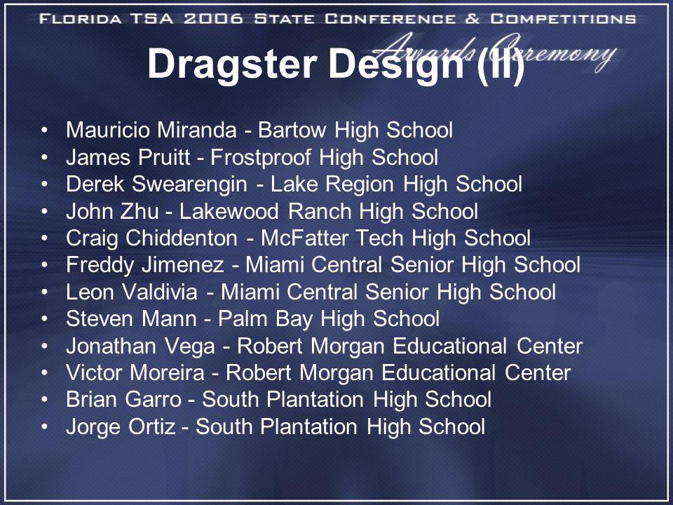 Dragster Design (II) Mauricio Miranda - Bartow High School James Pruitt - Frostproof High School Derek Swearengin - Lake Region High School John Zhu -