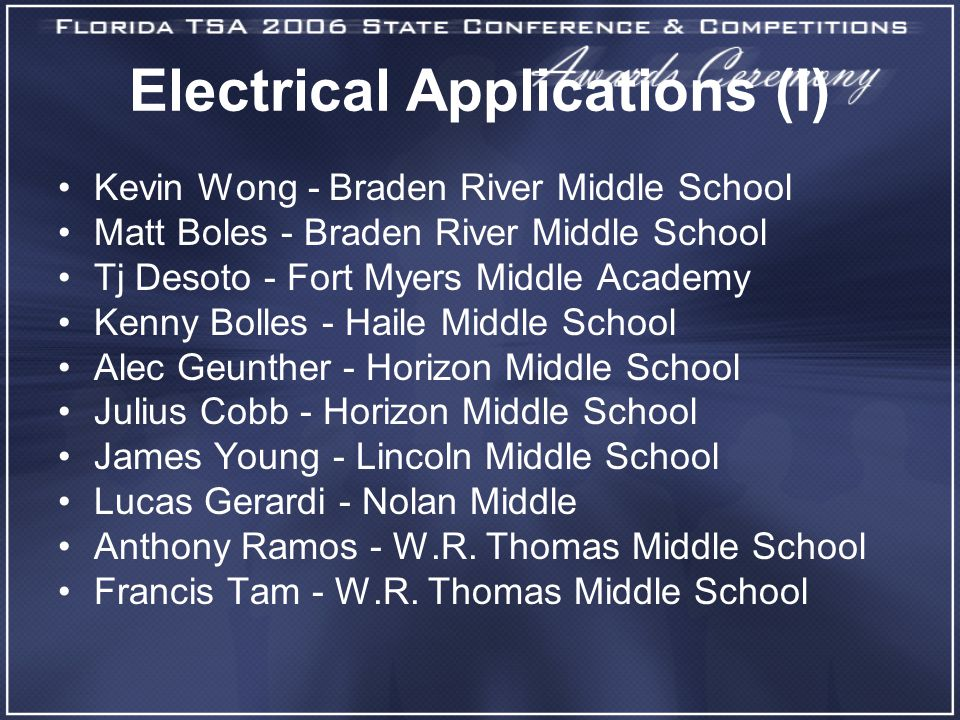 Electrical Applications (I) Kevin Wong - Braden River Middle School Matt Boles - Braden River Middle School Tj Desoto - Fort Myers Middle Academy Kenny Bolles - Haile Middle School Alec Geunther - Horizon Middle School Julius Cobb - Horizon Middle School James Young - Lincoln Middle School Lucas Gerardi - Nolan Middle Anthony Ramos - W.R.