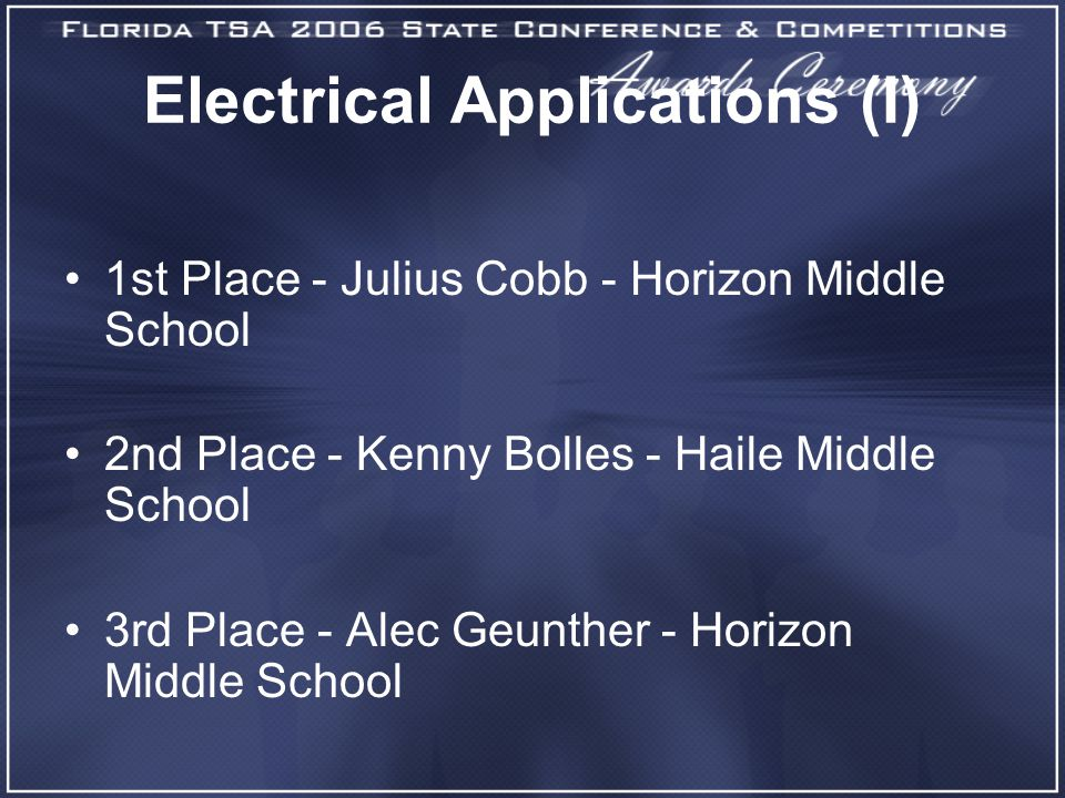 Electrical Applications (I) 1st Place - Julius Cobb - Horizon Middle School 2nd Place - Kenny Bolles - Haile Middle School 3rd Place - Alec Geunther - Horizon Middle School