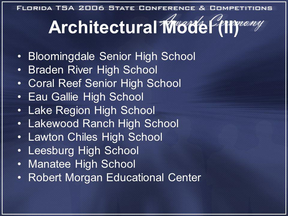 Architectural Model (II) Bloomingdale Senior High School Braden River High School Coral Reef Senior High School Eau Gallie High School Lake Region Hig