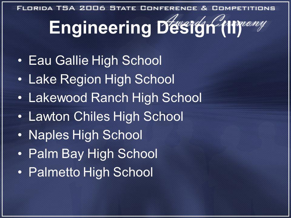 Engineering Design (II) Eau Gallie High School Lake Region High School Lakewood Ranch High School Lawton Chiles High School Naples High School Palm Bay High School Palmetto High School