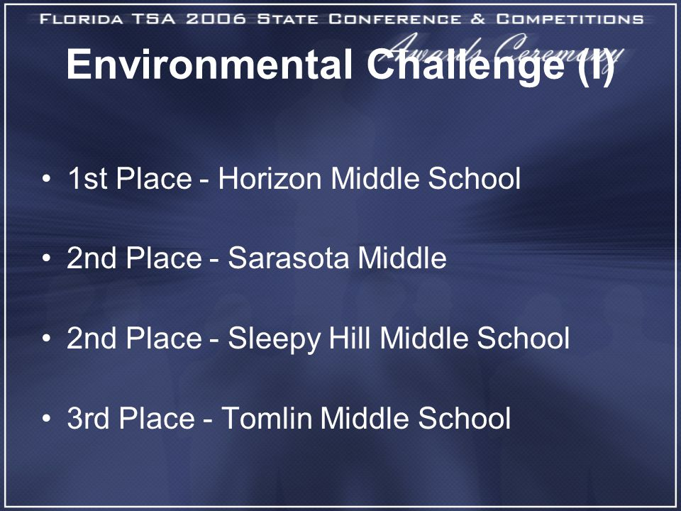Environmental Challenge (I) 1st Place - Horizon Middle School 2nd Place - Sarasota Middle 2nd Place - Sleepy Hill Middle School 3rd Place - Tomlin Middle School