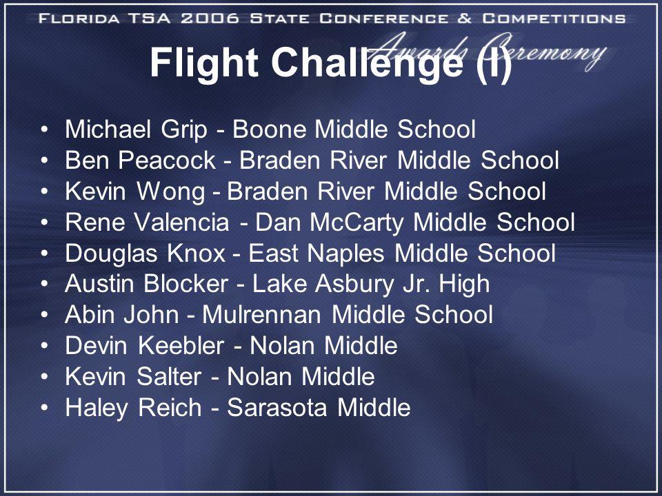 Flight Challenge (I) Michael Grip - Boone Middle School Ben Peacock - Braden River Middle School Kevin Wong - Braden River Middle School Rene Valencia