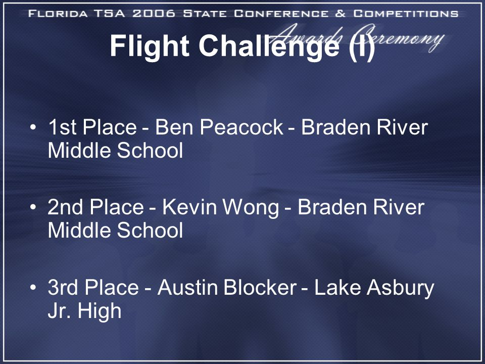 Flight Challenge (I) 1st Place - Ben Peacock - Braden River Middle School 2nd Place - Kevin Wong - Braden River Middle School 3rd Place - Austin Block