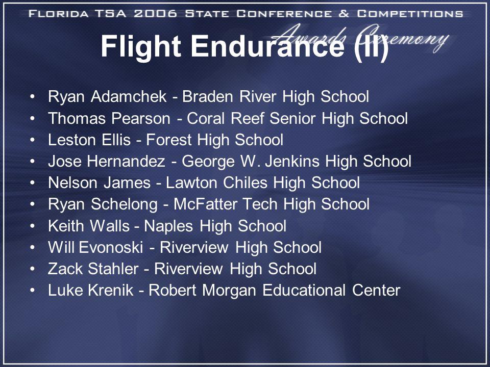 Flight Endurance (II) Ryan Adamchek - Braden River High School Thomas Pearson - Coral Reef Senior High School Leston Ellis - Forest High School Jose H