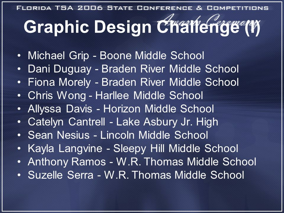 Graphic Design Challenge (I) Michael Grip - Boone Middle School Dani Duguay - Braden River Middle School Fiona Morely - Braden River Middle School Chris Wong - Harllee Middle School Allyssa Davis - Horizon Middle School Catelyn Cantrell - Lake Asbury Jr.