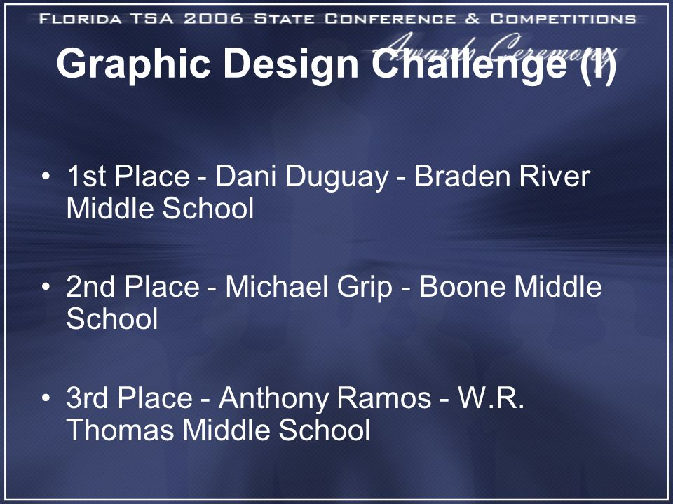 Graphic Design Challenge (I) 1st Place - Dani Duguay - Braden River Middle School 2nd Place - Michael Grip - Boone Middle School 3rd Place - Anthony Ramos - W.R.