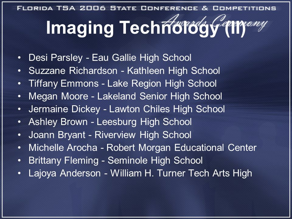 Imaging Technology (II) Desi Parsley - Eau Gallie High School Suzzane Richardson - Kathleen High School Tiffany Emmons - Lake Region High School Megan