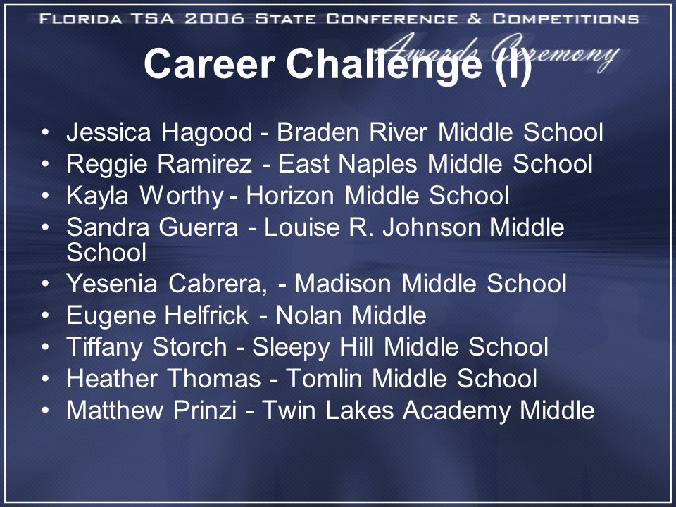 Career Challenge (I) Jessica Hagood - Braden River Middle School Reggie Ramirez - East Naples Middle School Kayla Worthy - Horizon Middle School Sandra Guerra - Louise R.