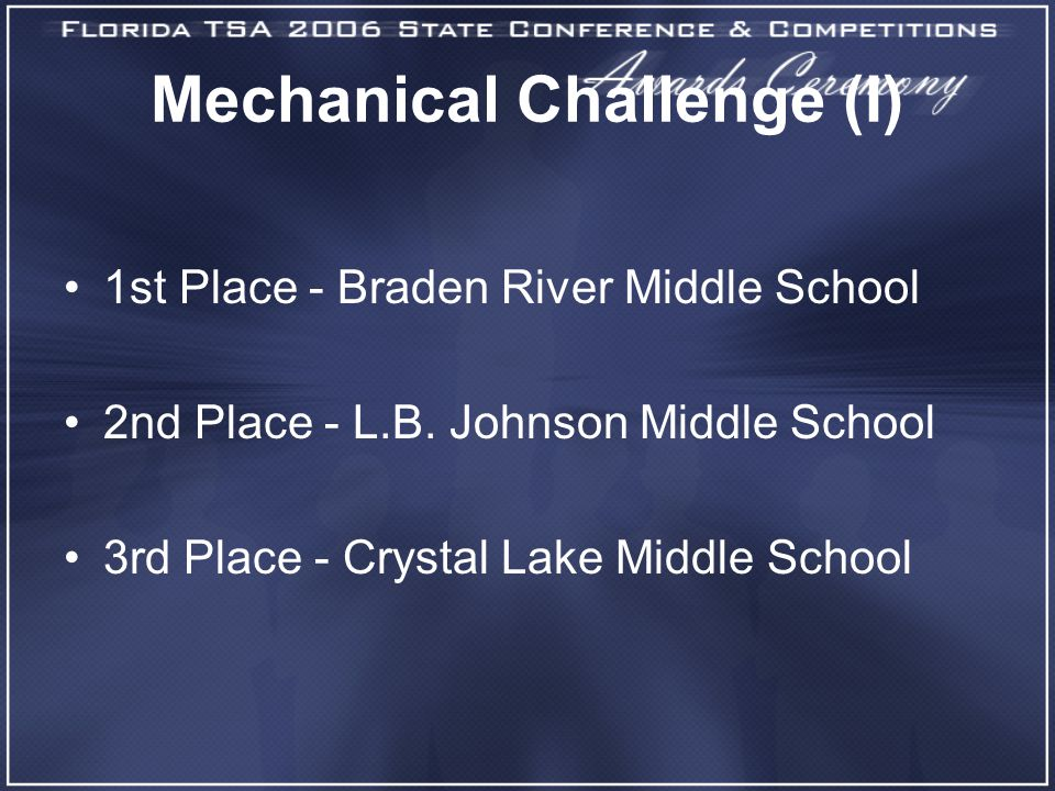 Mechanical Challenge (I) 1st Place - Braden River Middle School 2nd Place - L.B.