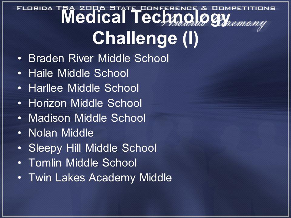 Medical Technology Challenge (I) Braden River Middle School Haile Middle School Harllee Middle School Horizon Middle School Madison Middle School Nola