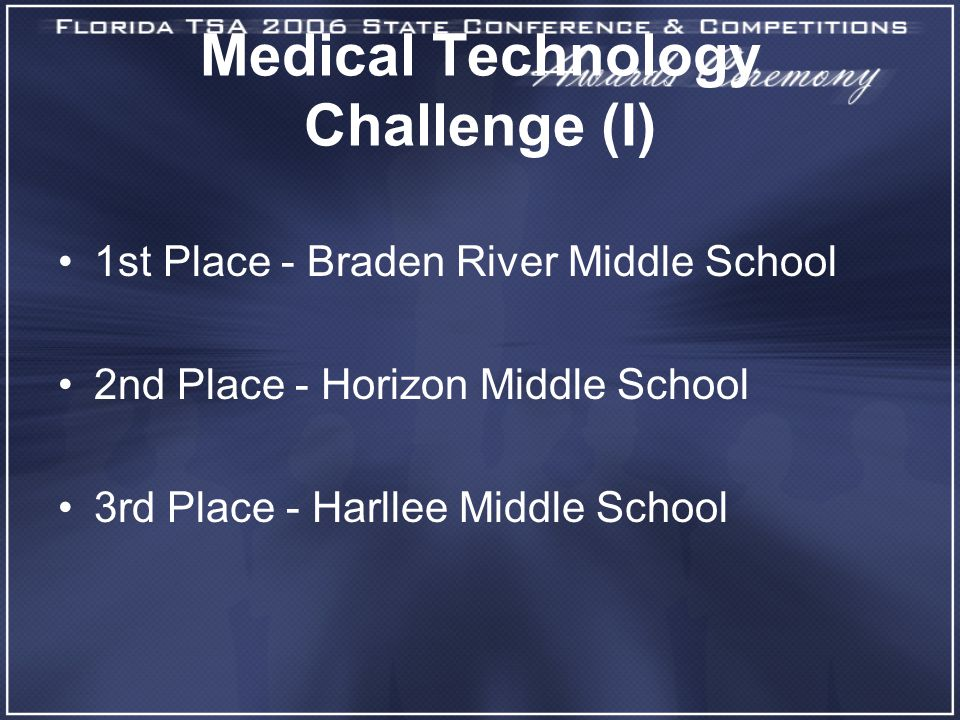 Medical Technology Challenge (I) 1st Place - Braden River Middle School 2nd Place - Horizon Middle School 3rd Place - Harllee Middle School