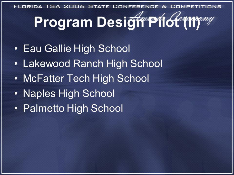 Program Design Pilot (II) Eau Gallie High School Lakewood Ranch High School McFatter Tech High School Naples High School Palmetto High School