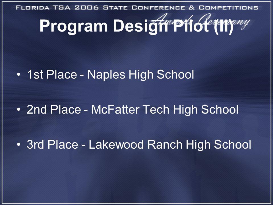 Program Design Pilot (II) 1st Place - Naples High School 2nd Place - McFatter Tech High School 3rd Place - Lakewood Ranch High School