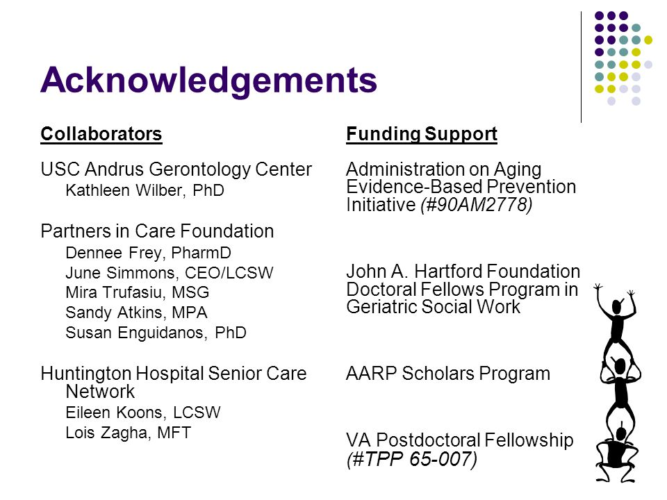 Acknowledgements Collaborators USC Andrus Gerontology Center Kathleen Wilber, PhD Partners in Care Foundation Dennee Frey, PharmD June Simmons, CEO/LCSW Mira Trufasiu, MSG Sandy Atkins, MPA Susan Enguidanos, PhD Huntington Hospital Senior Care Network Eileen Koons, LCSW Lois Zagha, MFT Funding Support Administration on Aging Evidence-Based Prevention Initiative (#90AM2778) John A.