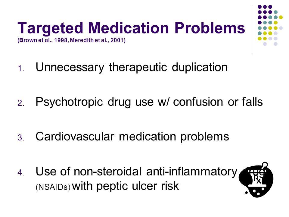 Targeted Medication Problems (Brown et al., 1998, Meredith et al., 2001) 1.