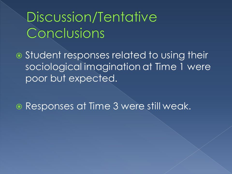  Student responses related to using their sociological imagination at Time 1 were poor but expected.