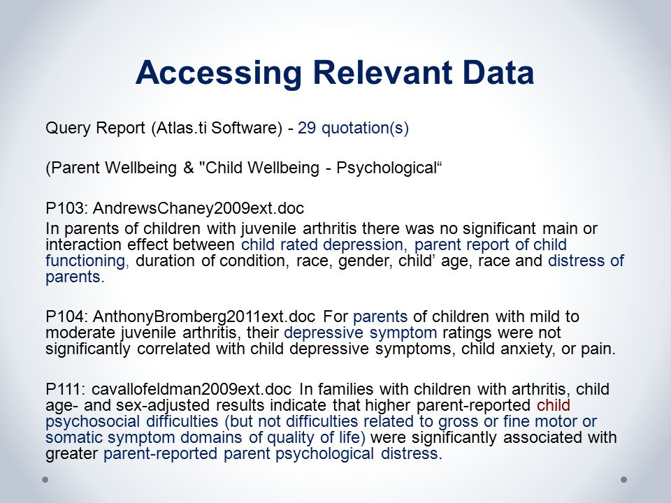 Accessing Relevant Data Query Report (Atlas.ti Software) - 29 quotation(s) (Parent Wellbeing &